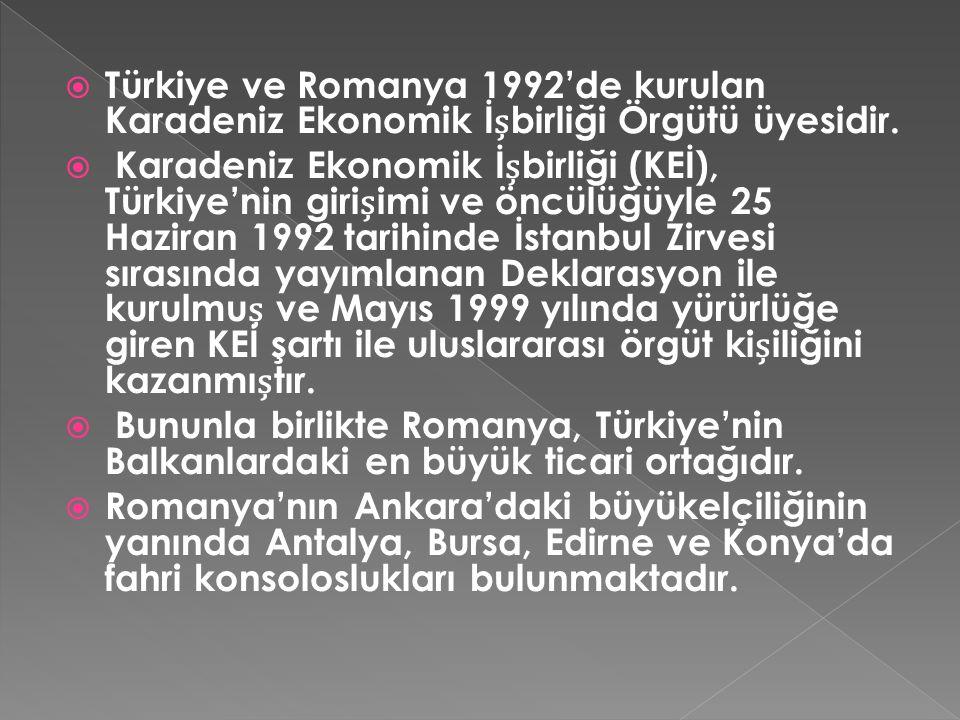  Türkiye ve Romanya 1992'de kurulan Karadeniz Ekonomik İbirliği Örgütü üyesidir.  Karadeniz Ekonomik İbirliği (KEİ), Türkiye'nin giriimi ve öncülüğü