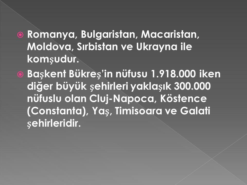  Romanya, Bulgaristan, Macaristan, Moldova, Sırbistan ve Ukrayna ile komudur.  Bakent Bükre'in nüfusu 1.918.000 iken diğer büyük ehirleri yaklaık 30