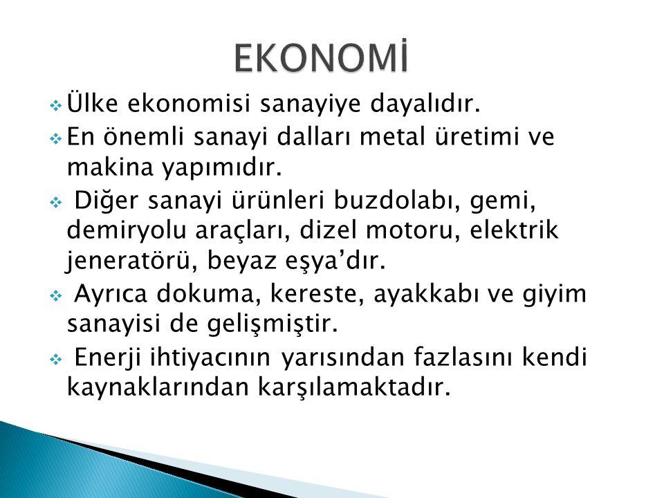  Ülke ekonomisi sanayiye dayalıdır. En önemli sanayi dalları metal üretimi ve makina yapımıdır.