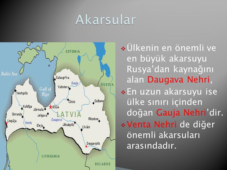  Ülkenin en önemli ve en büyük akarsuyu Rusya'dan kaynağını alan Daugava Nehri,  En uzun akarsuyu ise ülke sınırı içinden doğan Gauja Nehri'dir.  V