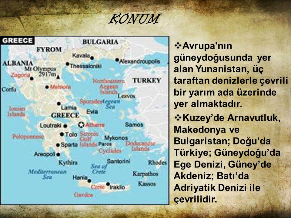  Ülkenin güneyinde ise üç parmak şeklinde Akdeniz e doğru sokulan Mora yarımadası yer alır.