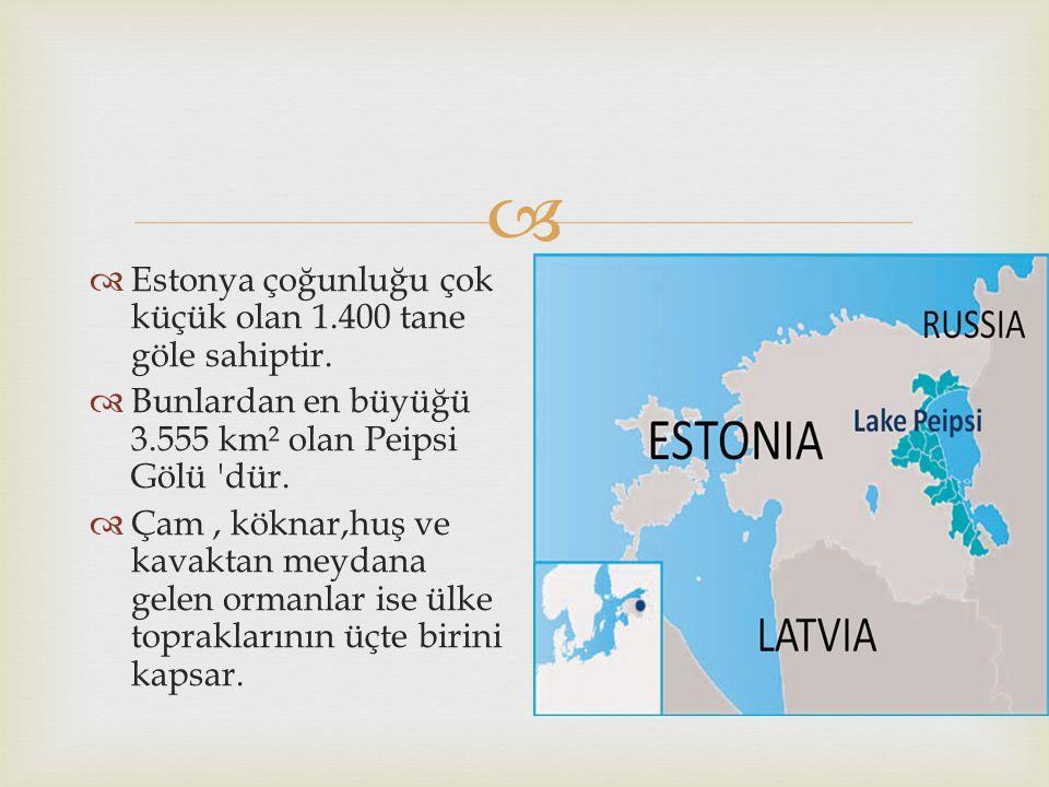   Estonya çoğunluğu çok küçük olan 1.400 tane göle sahiptir.  Bunlardan en büyüğü 3.555 km² olan Peipsi Gölü 'dür.  Çam, köknar,huş ve kavaktan me