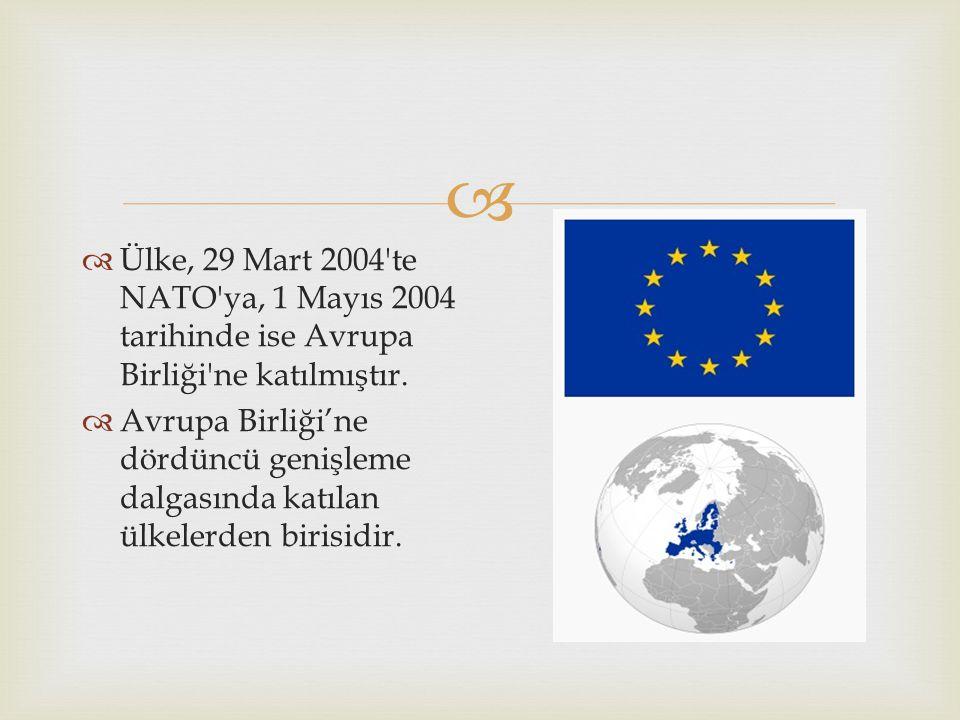   Ülke, 29 Mart 2004 te NATO ya, 1 Mayıs 2004 tarihinde ise Avrupa Birliği ne katılmıştır.