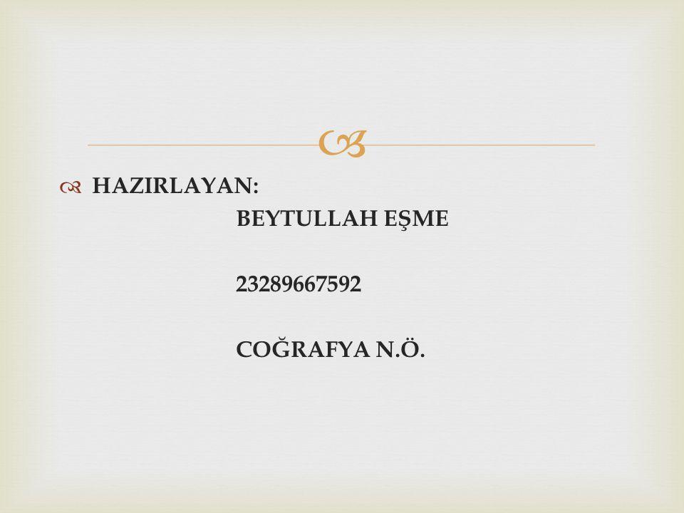   HAZIRLAYAN: BEYTULLAH EŞME 23289667592 COĞRAFYA N.Ö.