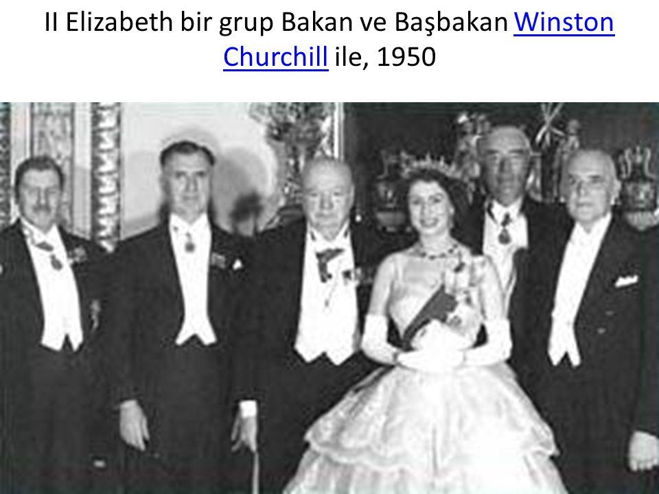 ІІ Elizabeth bir grup Bakan ve Başbakan Winston Churchill ile, 1950Winston Churchill