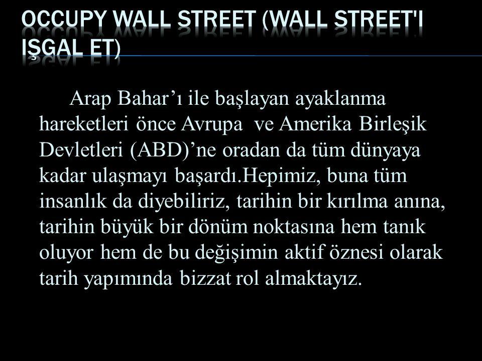 Arap Dünyasında süregelen gösteriler ne kadar demokratik,hak ve göstericiler ne kadar haklı ise, bugün New York, Boston, Los Angeles ve diğer eyaletlerde yapılan Occupy Wall Street (Wall Street i işgal et) gösterileri de o kadar demokratiktir görüşünü savunmaktadırlar.