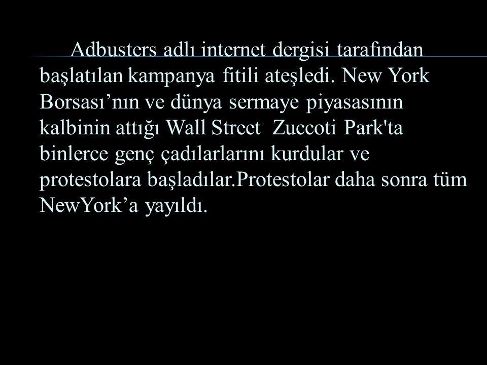 Adbusters adlı internet dergisi tarafından başlatılan kampanya fitili ateşledi. New York Borsası'nın ve dünya sermaye piyasasının kalbinin attığı Wall