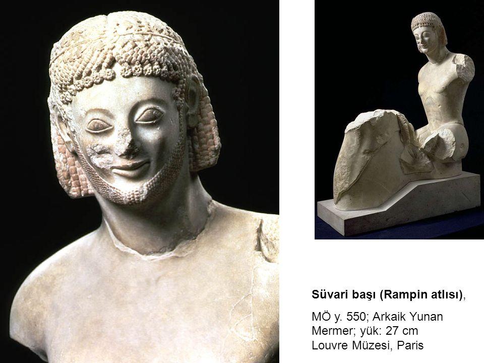 Süvari başı (Rampin atlısı), MÖ y. 550; Arkaik Yunan Mermer; yük: 27 cm Louvre Müzesi, Paris