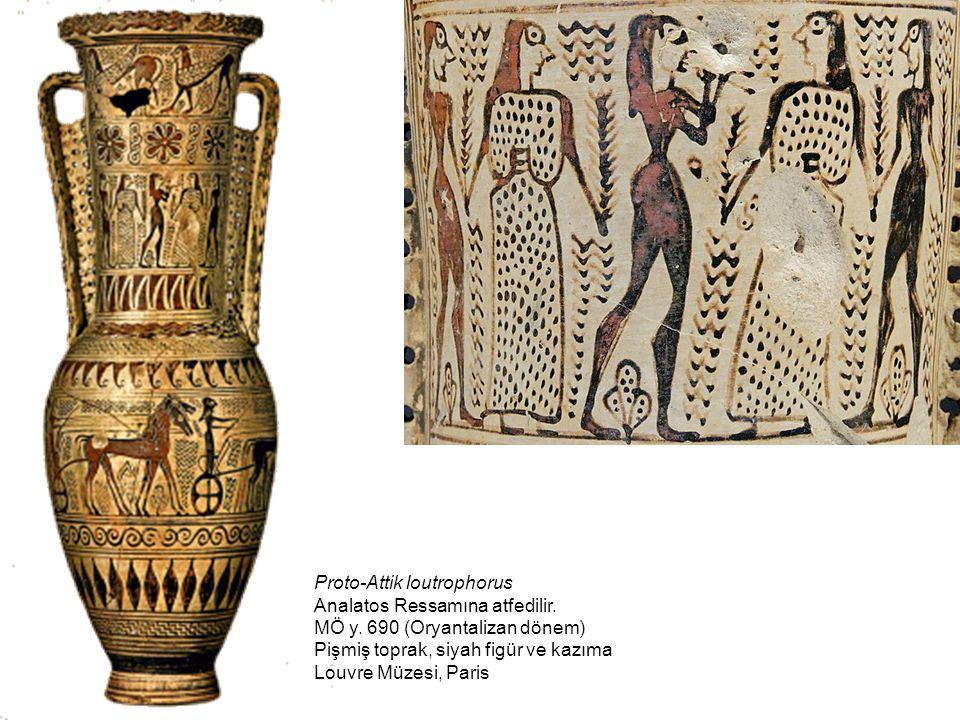 Proto-Attik loutrophorus Analatos Ressamına atfedilir. MÖ y. 690 (Oryantalizan dönem) Pişmiş toprak, siyah figür ve kazıma Louvre Müzesi, Paris