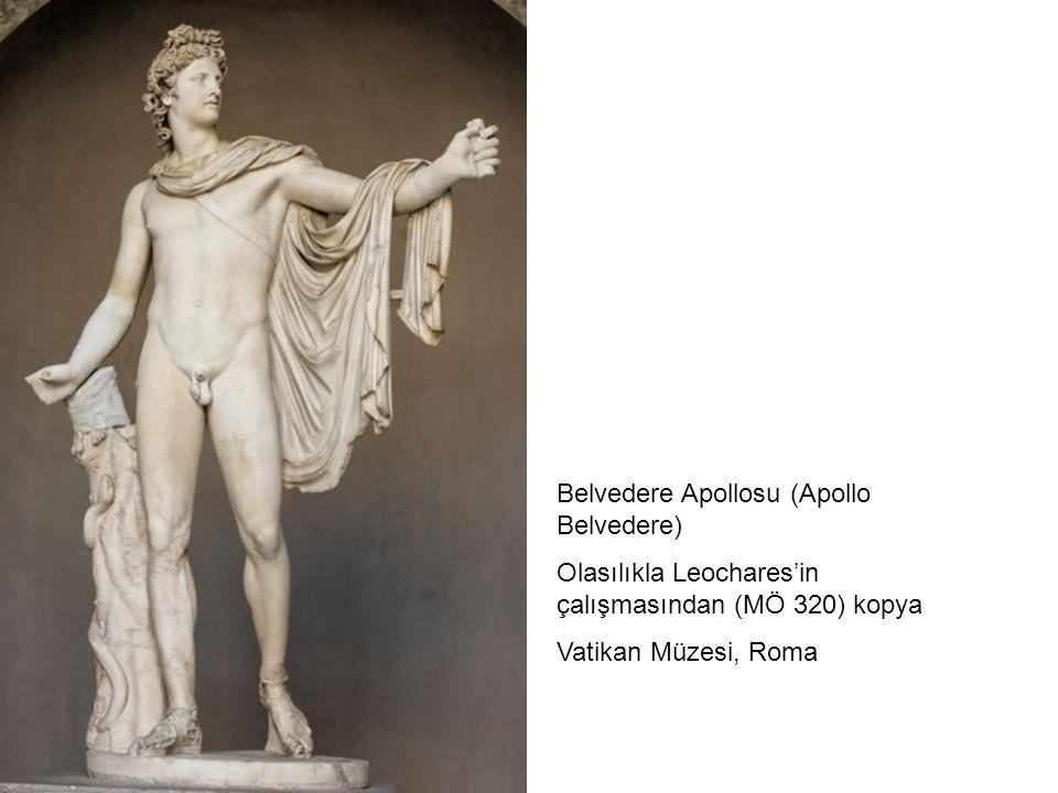 Belvedere Apollosu (Apollo Belvedere) Olasılıkla Leochares'in çalışmasından (MÖ 320) kopya Vatikan Müzesi, Roma