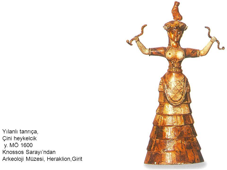 Yılanlı tanrıça, Çini heykelcik y. MÖ 1600 Knossos Sarayı'ndan Arkeoloji Müzesi, Heraklion,Girit