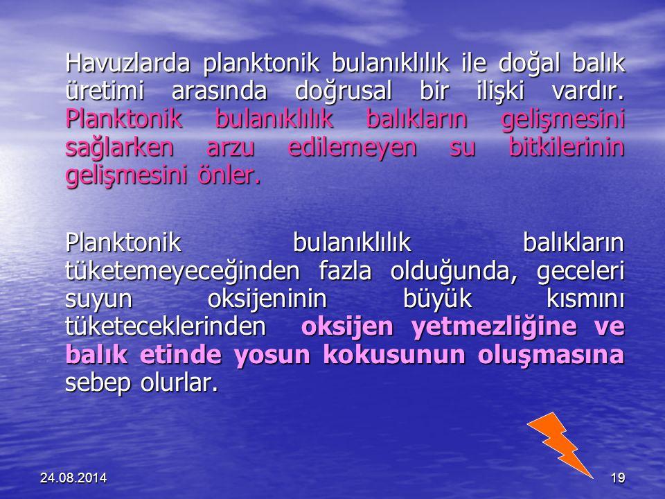 24.08.201419 Havuzlarda planktonik bulanıklılık ile doğal balık üretimi arasında doğrusal bir ilişki vardır.