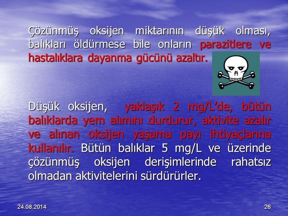 24.08.201426 Çözünmüş oksijen miktarının düşük olması, balıkları öldürmese bile onların parazitlere ve hastalıklara dayanma gücünü azaltır.