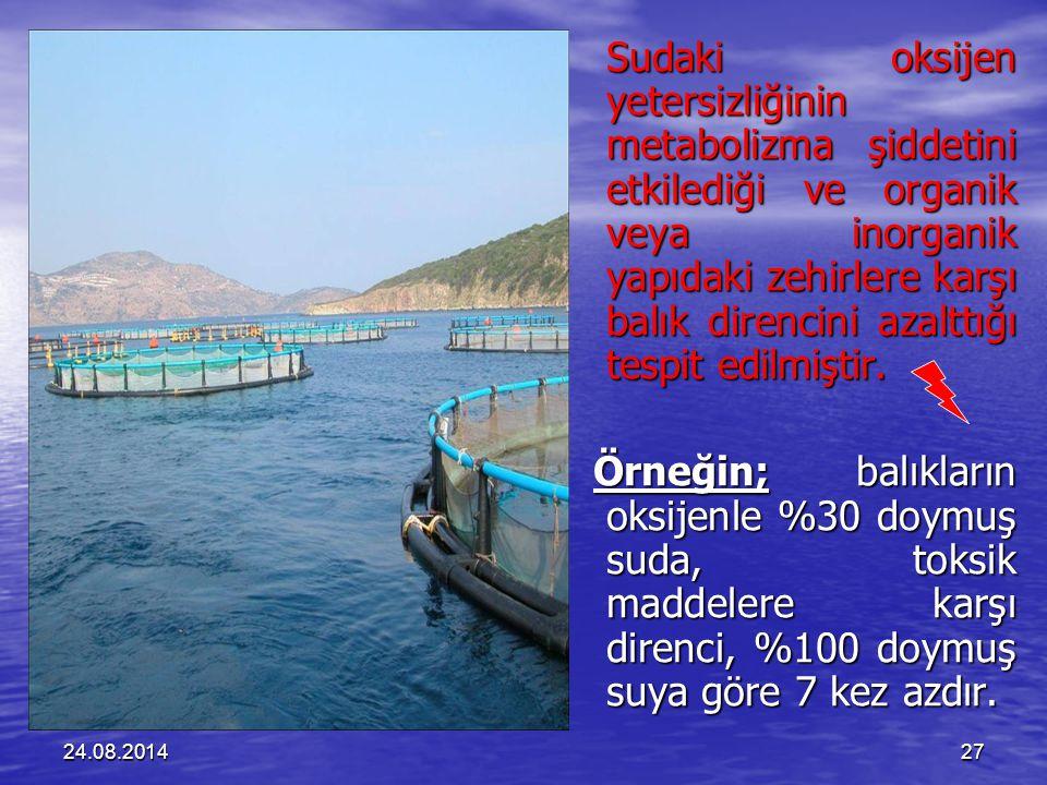 24.08.201427 Sudaki oksijen yetersizliğinin metabolizma şiddetini etkilediği ve organik veya inorganik yapıdaki zehirlere karşı balık direncini azalttığı tespit edilmiştir.