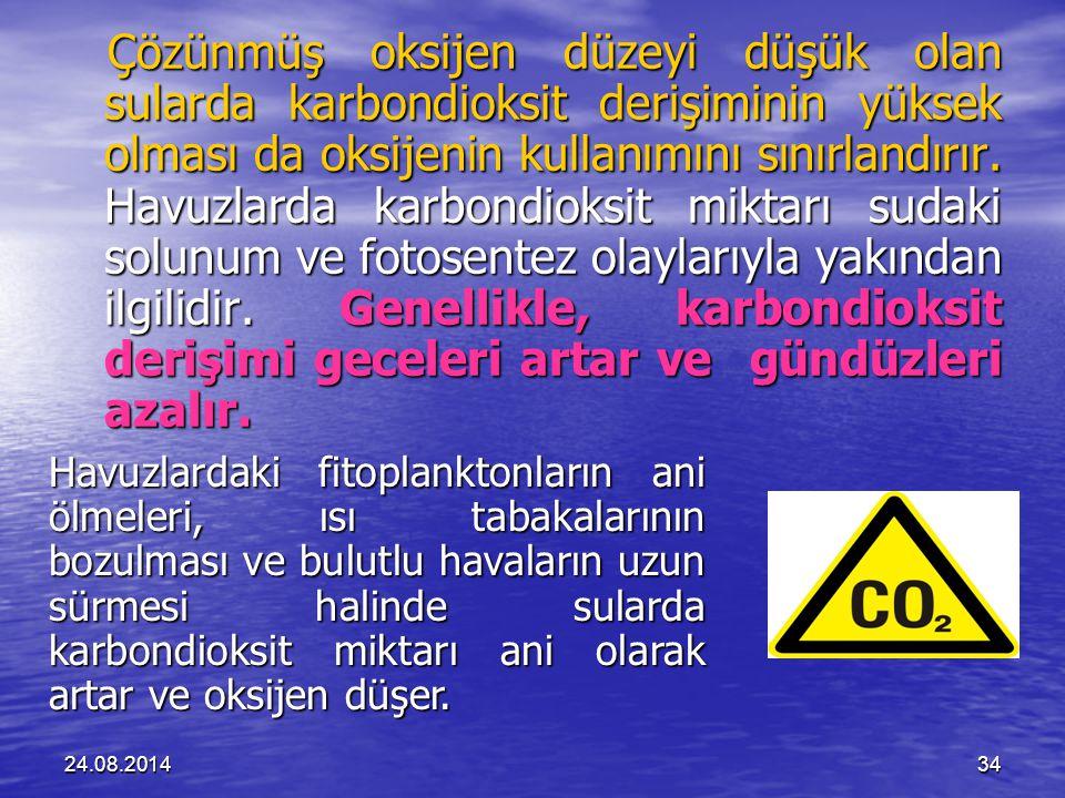 24.08.201434 Çözünmüş oksijen düzeyi düşük olan sularda karbondioksit derişiminin yüksek olması da oksijenin kullanımını sınırlandırır.