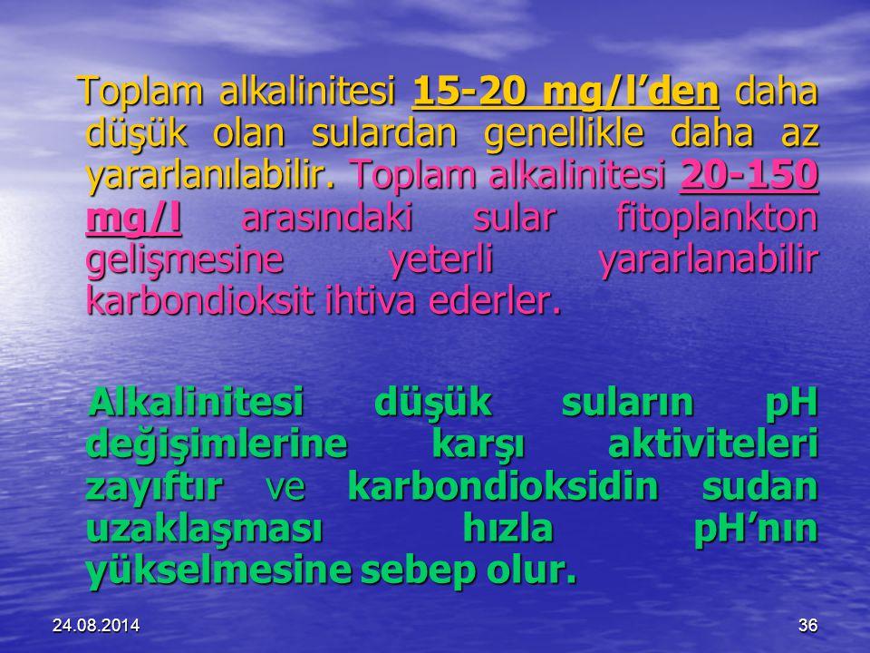 24.08.201436 Toplam alkalinitesi 15-20 mg/l'den daha düşük olan sulardan genellikle daha az yararlanılabilir.