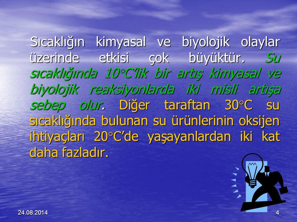 24.08.20144 Sıcaklığın kimyasal ve biyolojik olaylar üzerinde etkisi çok büyüktür.