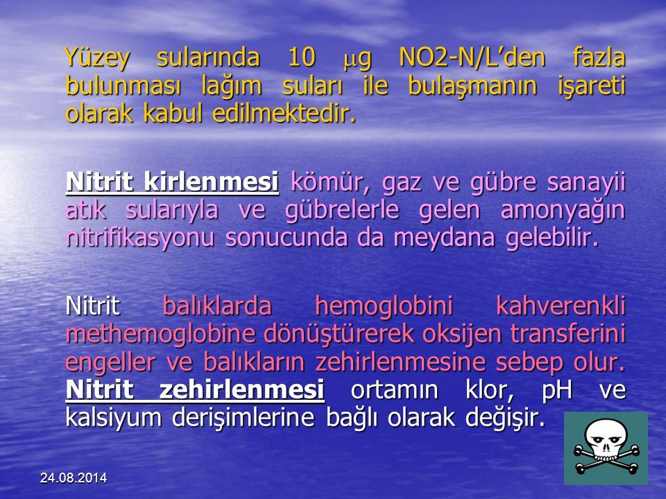 24.08.201443 Yüzey sularında 10  g NO2-N/L'den fazla bulunması lağım suları ile bulaşmanın işareti olarak kabul edilmektedir.