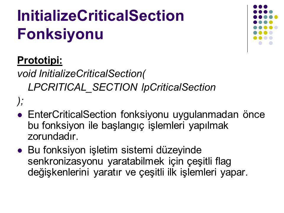 InitializeCriticalSection Fonksiyonu Prototipi: void InitializeCriticalSection( LPCRITICAL_SECTION lpCriticalSection ); EnterCriticalSection fonksiyonu uygulanmadan önce bu fonksiyon ile başlangıç işlemleri yapılmak zorundadır.