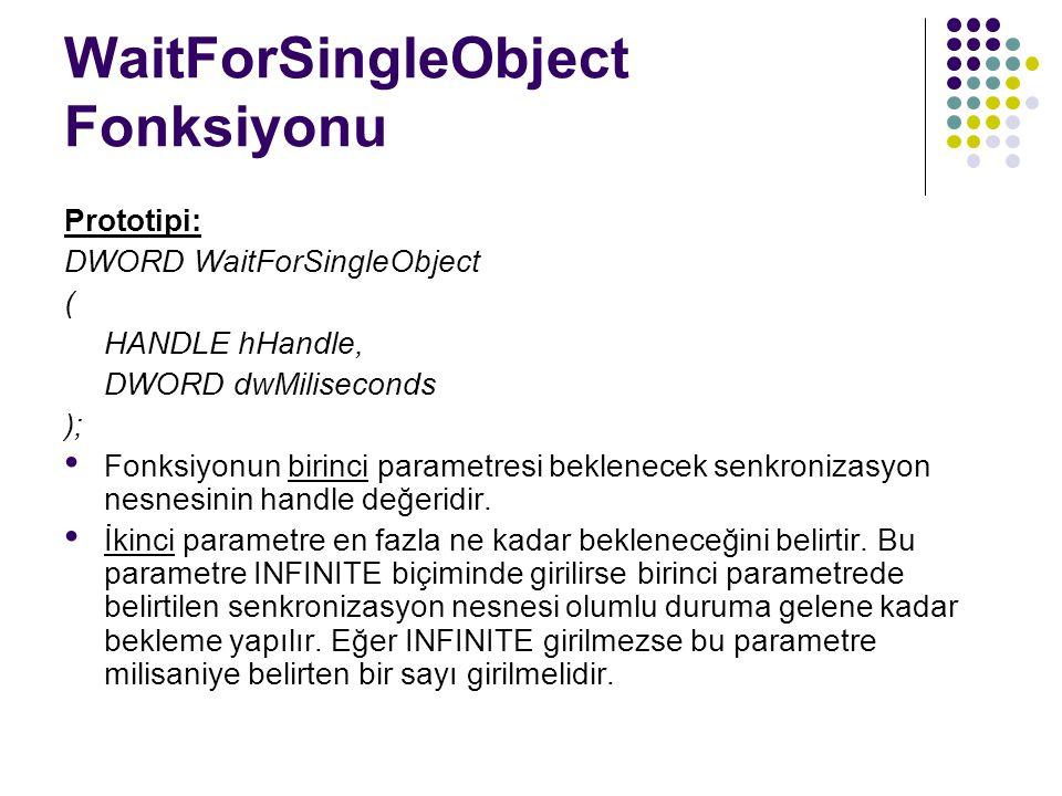 WaitForSingleObject Fonksiyonu Prototipi: DWORD WaitForSingleObject ( HANDLE hHandle, DWORD dwMiliseconds ); Fonksiyonun birinci parametresi beklenecek senkronizasyon nesnesinin handle değeridir.