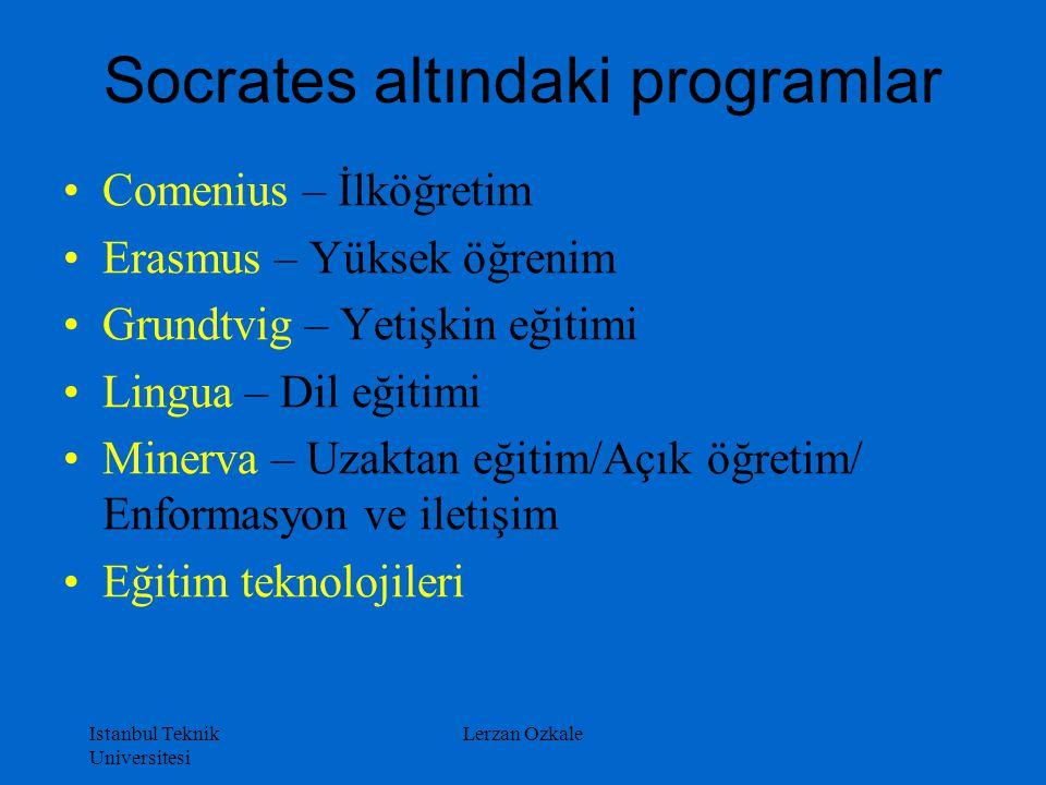 Istanbul Teknik Universitesi Lerzan Ozkale Socrates altındaki programlar Comenius – İlköğretim Erasmus – Yüksek öğrenim Grundtvig – Yetişkin eğitimi L
