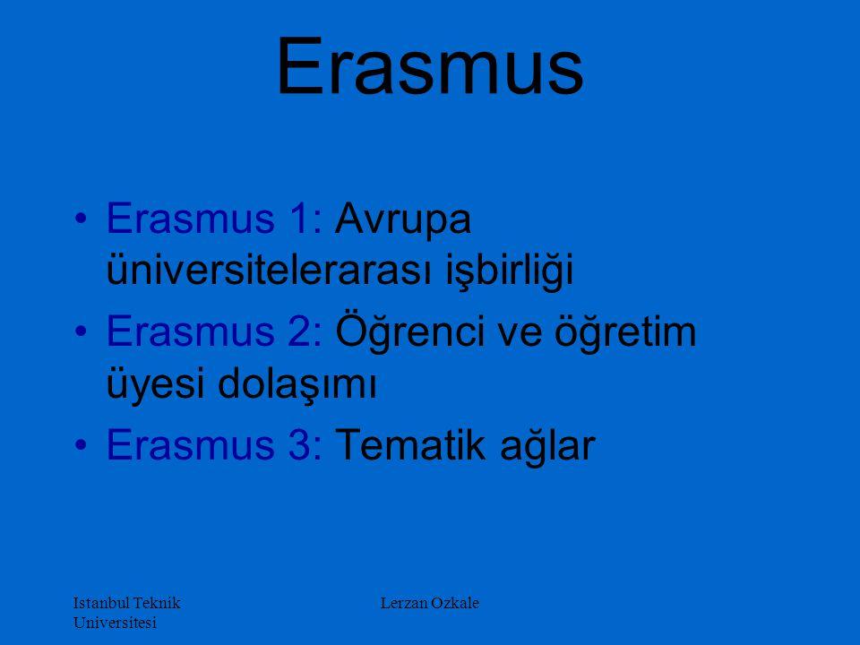 Istanbul Teknik Universitesi Lerzan Ozkale Erasmus Erasmus 1: Avrupa üniversitelerarası işbirliği Erasmus 2: Öğrenci ve öğretim üyesi dolaşımı Erasmus