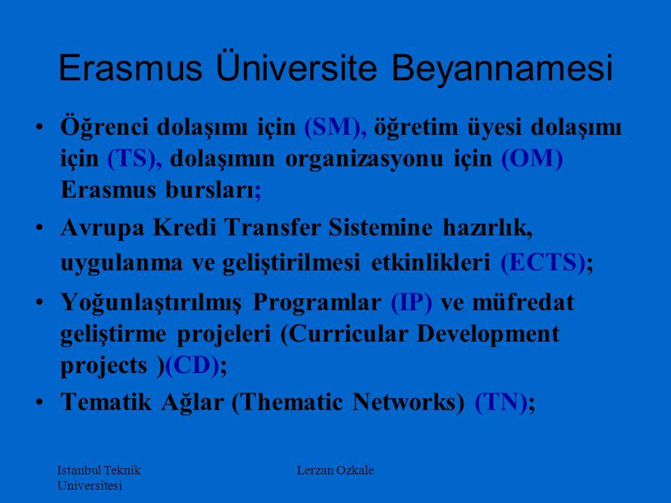 Istanbul Teknik Universitesi Lerzan Ozkale Öğrenci dolaşımı için (SM), öğretim üyesi dolaşımı için (TS), dolaşımın organizasyonu için (OM) Erasmus bur