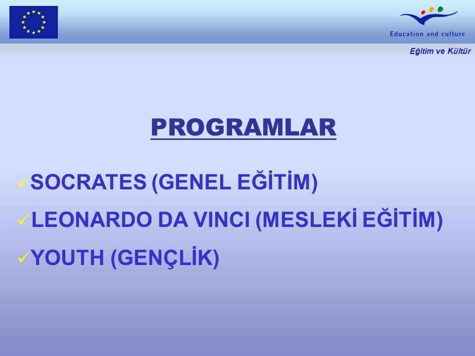 Eğitim ve Kültür PROGRAMLAR SOCRATES (GENEL EĞİTİM) LEONARDO DA VINCI (MESLEKİ EĞİTİM) YOUTH (GENÇLİK)