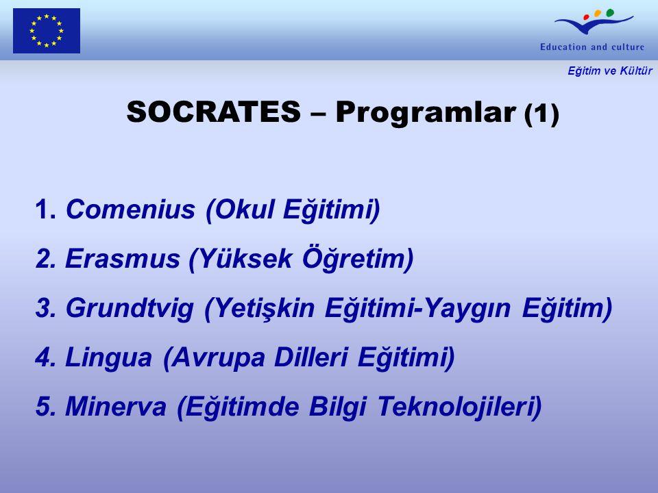 Eğitim ve Kültür SOCRATES – Programlar (1) 1. Comenius (Okul Eğitimi) 2.