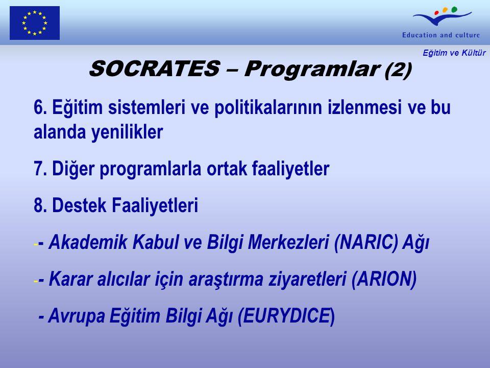 Eğitim ve Kültür SOCRATES – Programlar (2) 6.