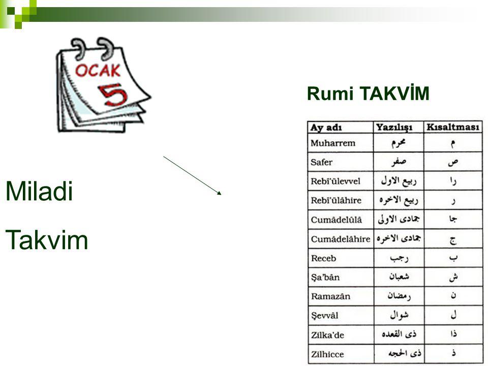 Miladi Takvim Rumi TAKVİM