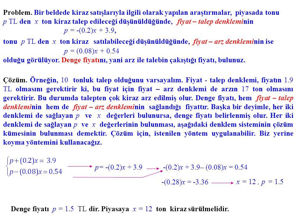 Denge fiyatı p = 1.5 TL dir. Piyasaya x = 12 ton kiraz sürülmelidir. p= -(0.2)x + 3.9-(0.2)x + 3.9– (0.08)x = 0.54 -(0.28)x = -3.36 x = 12, p = 1.5 Çö