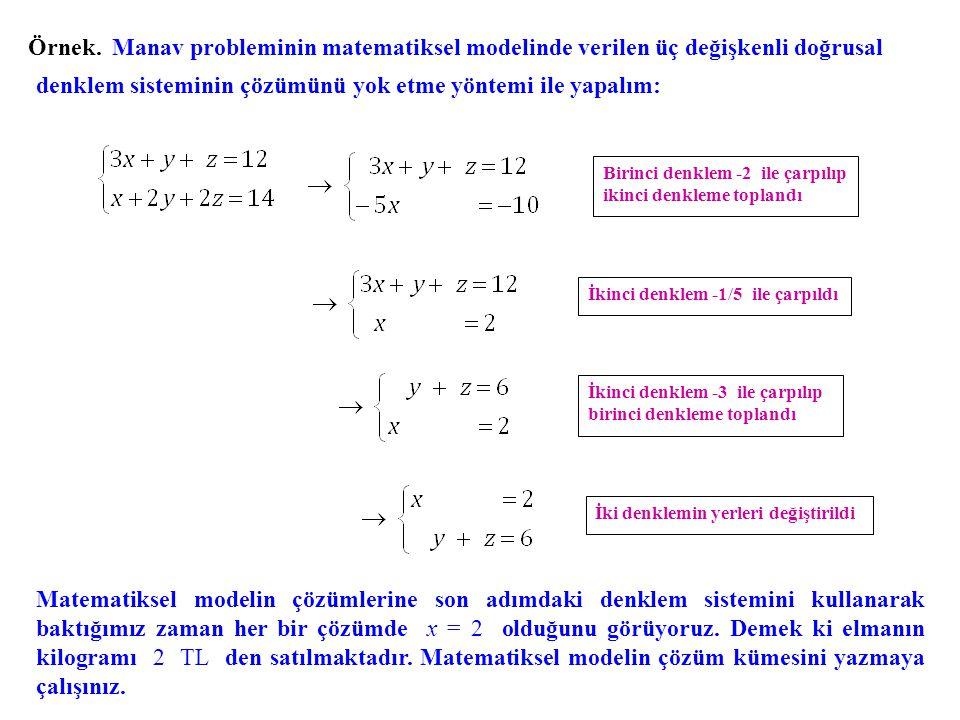 Örnek. Manav probleminin matematiksel modelinde verilen üç değişkenli doğrusal denklem sisteminin çözümünü yok etme yöntemi ile yapalım: Birinci denkl
