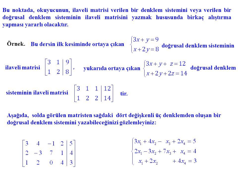 Bu noktada, okuyucunun, ilaveli matrisi verilen bir denklem sistemini veya verilen bir doğrusal denklem sisteminin ilaveli matrisini yazmak hususunda