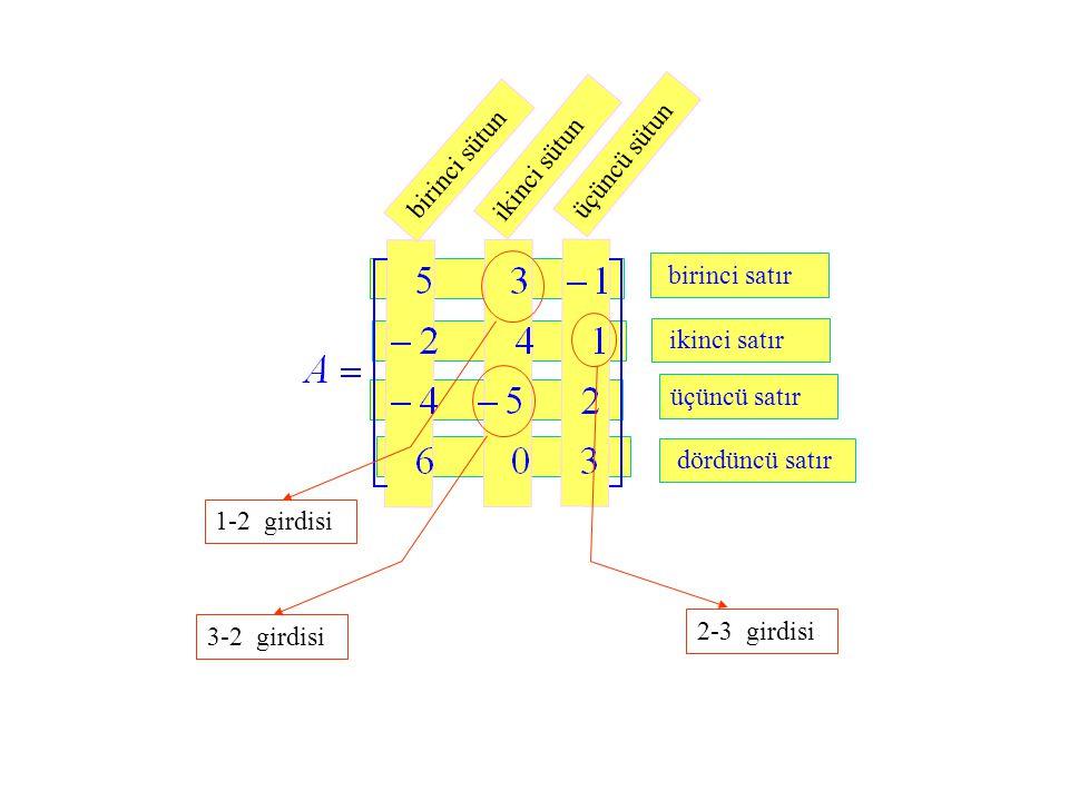 dördüncü satır üçüncü satır ikinci satır birinci satır birinci sütun ikinci sütun üçüncü sütun 3-2 girdisi 2-3 girdisi 1-2 girdisi