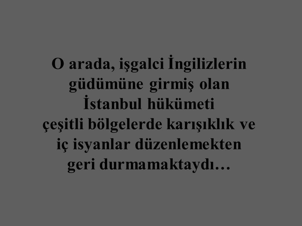 O arada, işgalci İngilizlerin güdümüne girmiş olan İstanbul hükümeti çeşitli bölgelerde karışıklık ve iç isyanlar düzenlemekten geri durmamaktaydı…