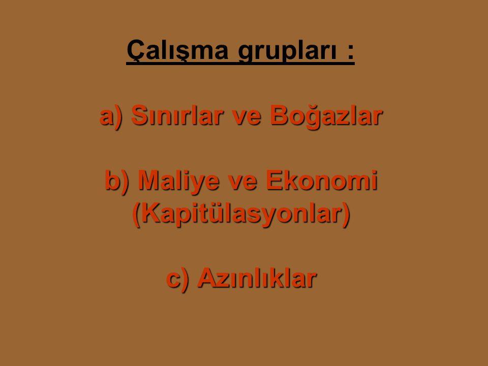 a) Sınırlar ve Boğazlar b) Maliye ve Ekonomi (Kapitülasyonlar) c) Azınlıklar Çalışma grupları : a) Sınırlar ve Boğazlar b) Maliye ve Ekonomi (Kapitülasyonlar) c) Azınlıklar