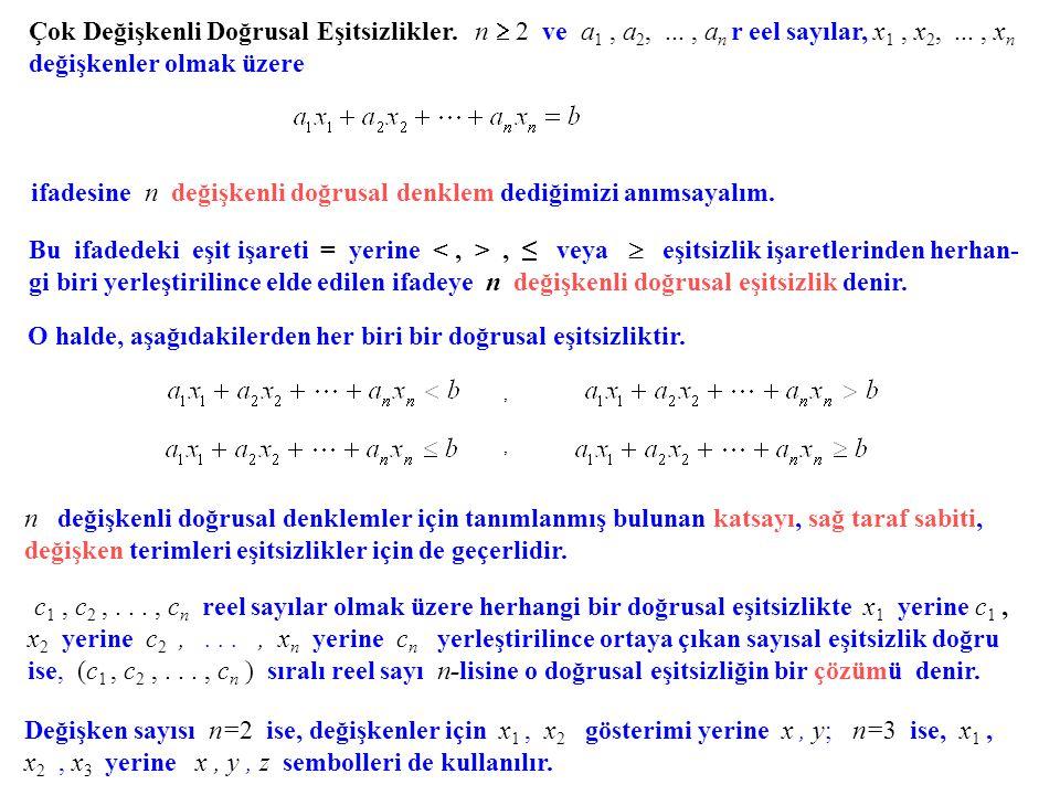 Çok Değişkenli Doğrusal Eşitsizlikler. n  2 ve a 1, a 2,..., a n r eel sayılar, x 1, x 2,..., x n değişkenler olmak üzere ifadesine n değişkenli doğr