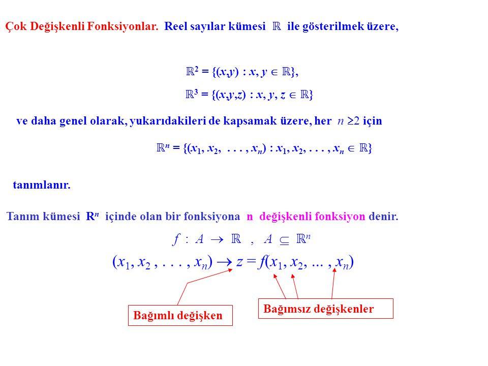 Çok Değişkenli Fonksiyonlar. Reel sayılar kümesi ℝ ile gösterilmek üzere, ℝ 2 = {(x,y) : x, y  ℝ }, Tanım kümesi R n içinde olan bir fonksiyona n değ