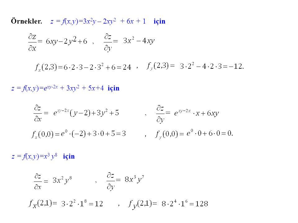 Örnekler. z = f(x,y)=3x 2 y – 2xy 2 + 6x + 1 için z = f(x,y)=e xy-2x + 3xy 2 + 5x+4 için z = f(x,y)=x 3 y 8 için