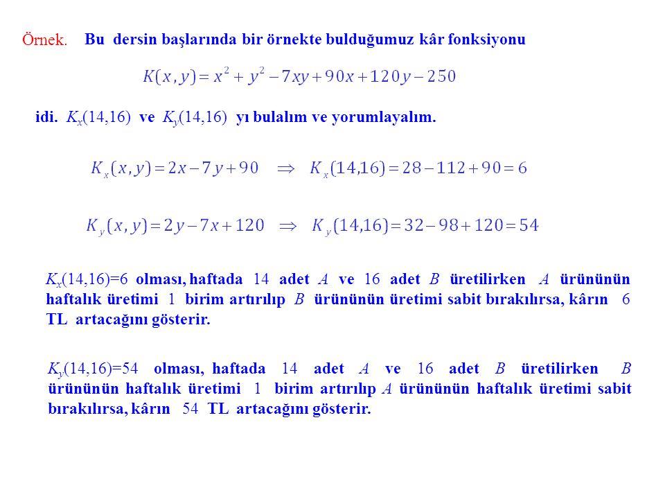Örnek. Bu dersin başlarında bir örnekte bulduğumuz kâr fonksiyonu idi. K x (14,16) ve K y (14,16) yı bulalım ve yorumlayalım. K x (14,16)=6 olması, ha