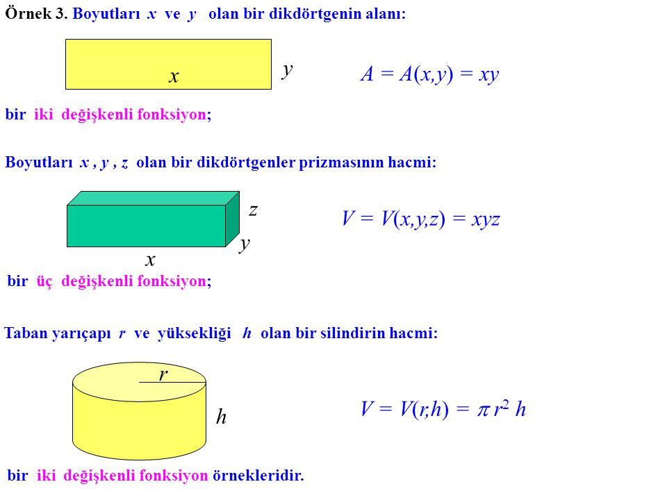 Örnek 3. Boyutları x ve y olan bir dikdörtgenin alanı: y x A = A(x,y) = xy bir iki değişkenli fonksiyon; Boyutları x, y, z olan bir dikdörtgenler priz