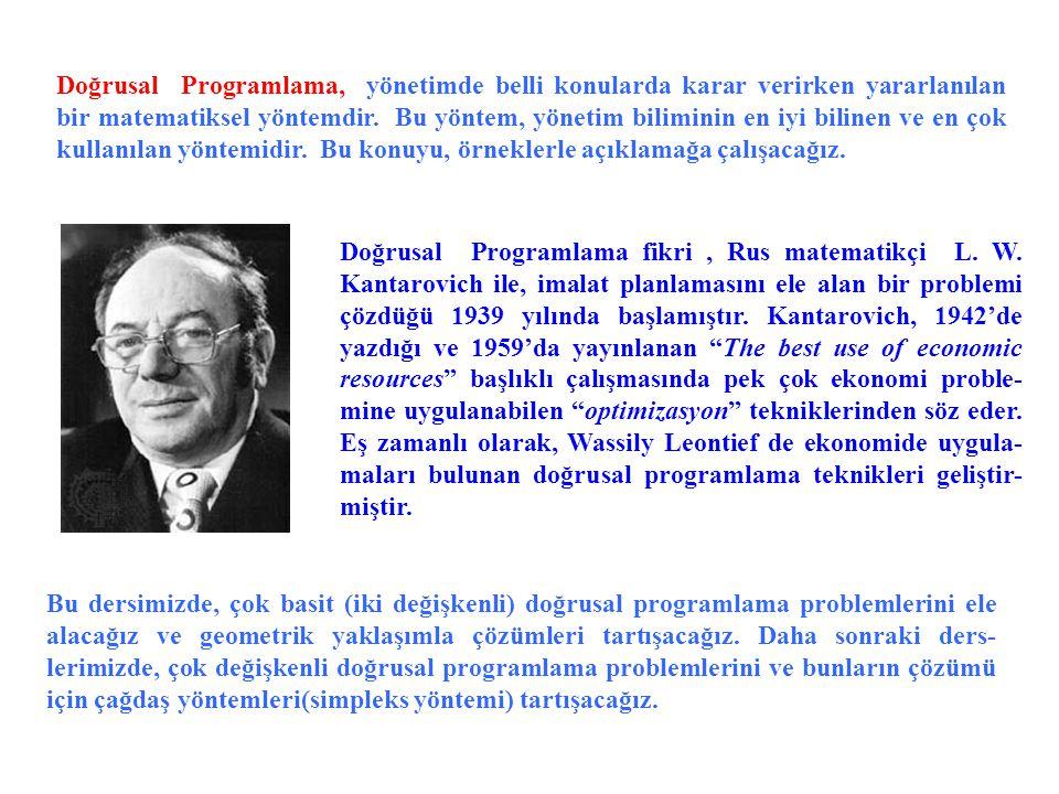 Doğrusal Programlama, yönetimde belli konularda karar verirken yararlanılan bir matematiksel yöntemdir.
