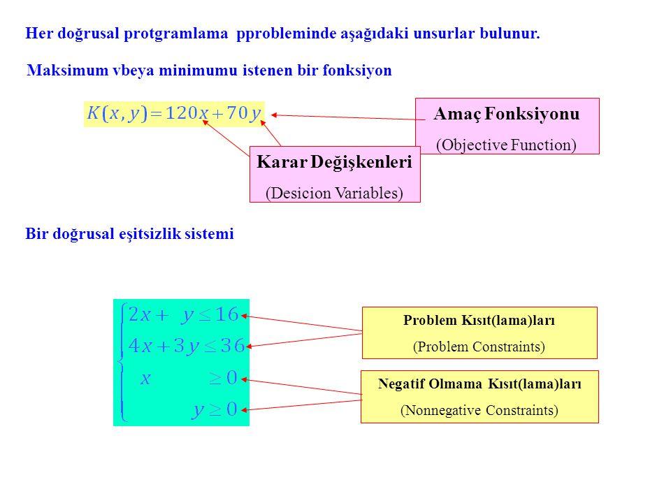 Amaç Fonksiyonu (Objective Function) Karar Değişkenleri (Desicion Variables) Problem Kısıt(lama)ları (Problem Constraints) Negatif Olmama Kısıt(lama)ları (Nonnegative Constraints) Her doğrusal protgramlama pprobleminde aşağıdaki unsurlar bulunur.