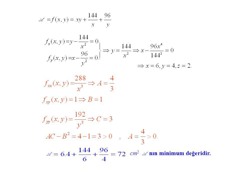 cm 2 A nın minimum değeridir. A A