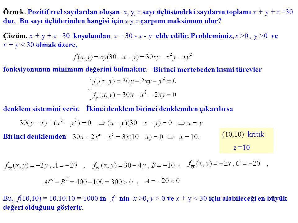 Örnek. Pozitif reel sayılardan oluşan x, y, z sayı üçlüsündeki sayıların toplamı x + y + z =30 dur. Bu sayı üçlülerinden hangisi için x y z çarpımı ma