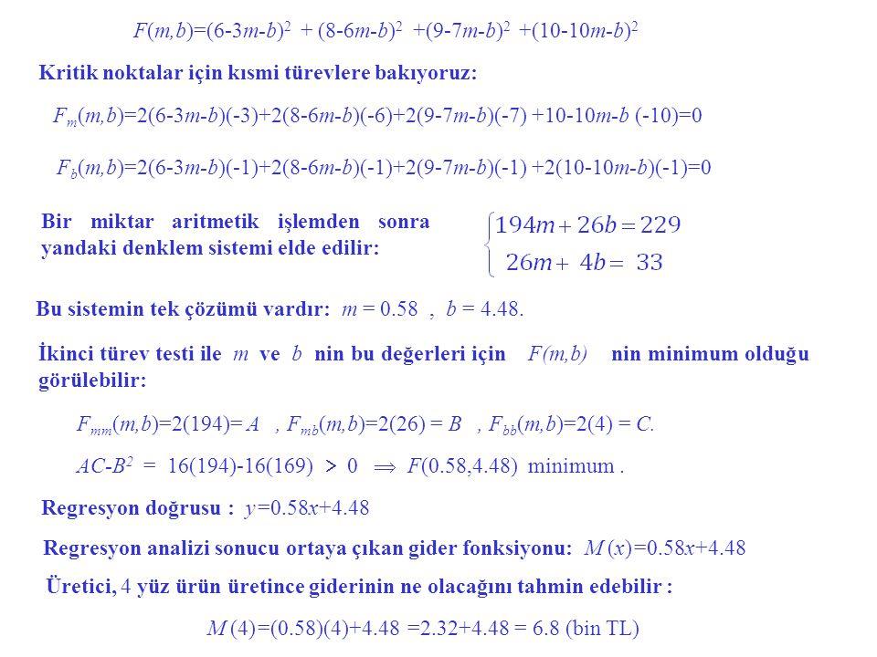 F(m,b)=(6-3m-b) 2 + (8-6m-b) 2 +(9-7m-b) 2 +(10-10m-b) 2 F m (m,b)=2(6-3m-b)(-3)+2(8-6m-b)(-6)+2(9-7m-b)(-7) +10-10m-b (-10)=0 F b (m,b)=2(6-3m-b)(-1)