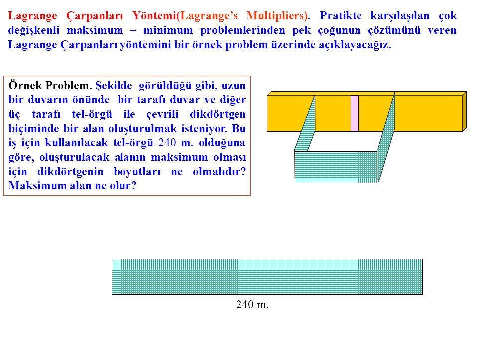 Lagrange Çarpanları Yöntemi(Lagrange's Multipliers). Pratikte karşılaşılan çok değişkenli maksimum – minimum problemlerinden pek çoğunun çözümünü vere