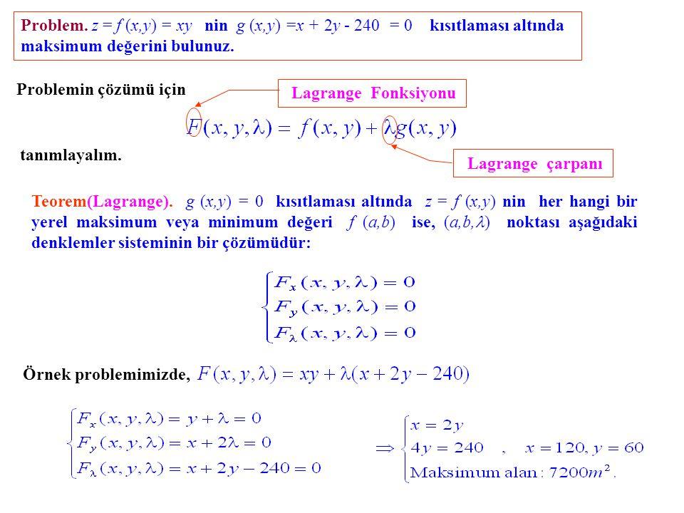 Problem. z = f (x,y) = xy nin g (x,y) =x + 2y - 240 = 0 kısıtlaması altında maksimum değerini bulunuz. Problemin çözümü için tanımlayalım. Lagrange Fo