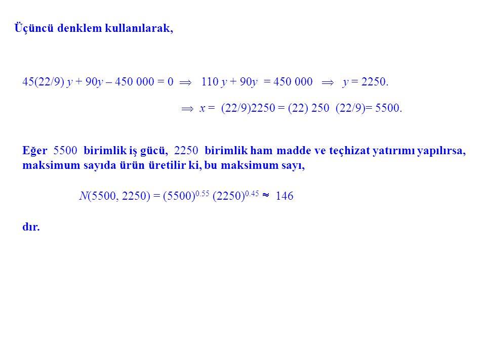Üçüncü denklem kullanılarak, 45(22/9) y + 90y – 450 000 = 0  110 y + 90y = 450 000  y = 2250. Eğer 5500 birimlik iş gücü, 2250 birimlik ham madde ve
